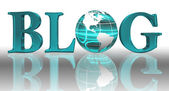 Blog word and blue earth globe — Stock Photo