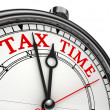 Tax time concept clock closeup — Stock fotografie