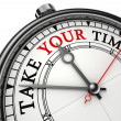 Take your time concept clock — Stock Photo