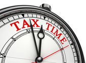 Tax time concept clock closeup — Stok fotoğraf