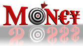 Money red word and concept target — Stock Photo