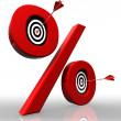Per cent red symbol with conceptual targets — Stock Photo