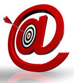 Email red symbol and concept target — Stock Photo