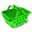 Plastic market shopping basket in green color — Stock Vector