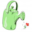 Green watering can cartoon icon — Stock Vector