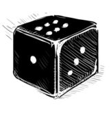 Lucky dice cartoon icon in black color — Stock Vector
