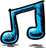 Poznámka: dvojí hudba v modré barvě — Stock vektor