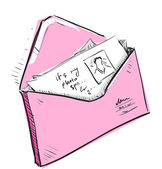 Letter and photos in pink envelope cartoon icon — Stockvektor