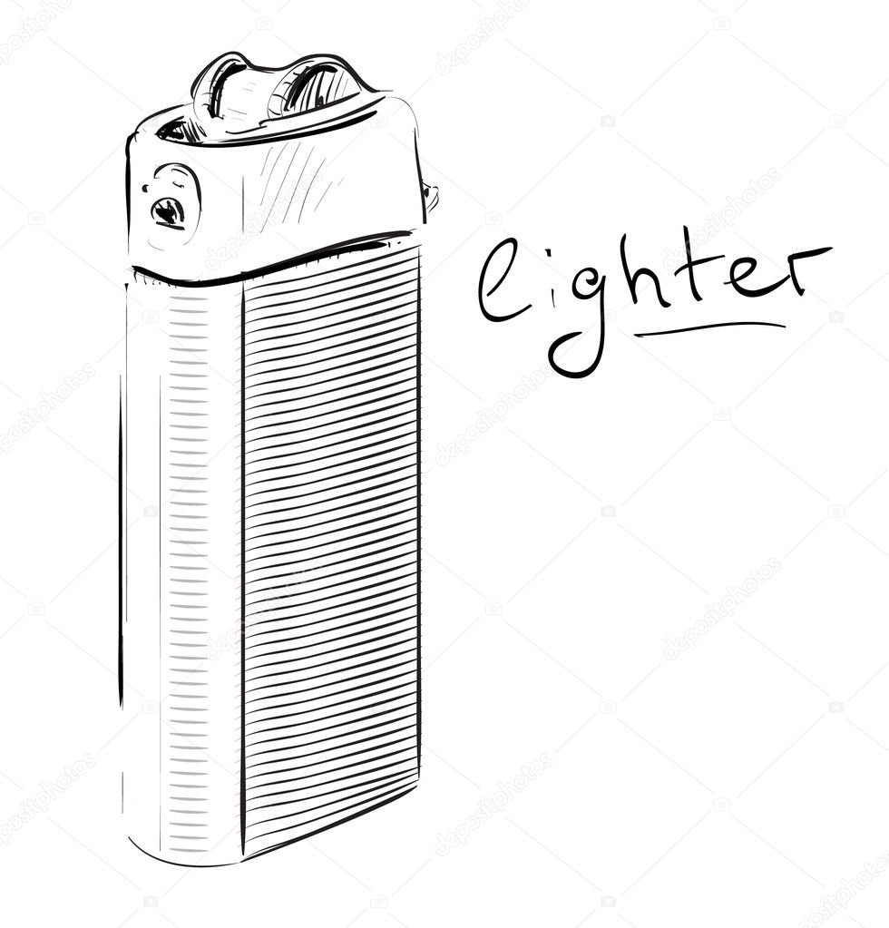 White Lighter Drawing Hand Drawing Vector
