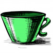 Cup in green color — Stock Vector