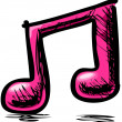 Stock Vector: Double pink music note