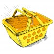 Plastic market shopping basket in yellow color — Stock Vector
