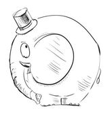Funny elephant in a top-hat — Stock Vector