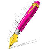 Cartoon bläckpenna i rosa färg — Stockvektor