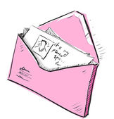 Letter and photos in pink envelope cartoon icon — Vector de stock