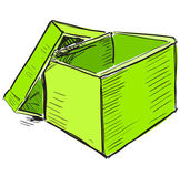 Open box in green color — Stock Vector