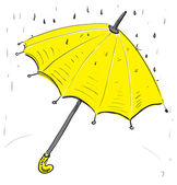 Yellow umbrella under the rain — Stock Vector