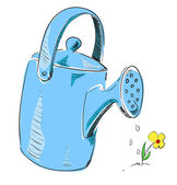 Watering can cartoon icon in blue color — Vecteur