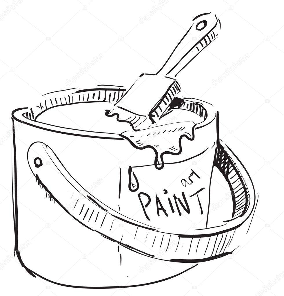 pinceau et le pot de peinture image vectorielle chuhail 169 9008145