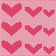 Knitted Heart card on seamless background — Stock Vector