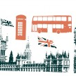 Silhouettes of london sigtseeings — Stock Vector