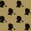 Seamless pattern of detective's profiles — Stok Vektör #8636195