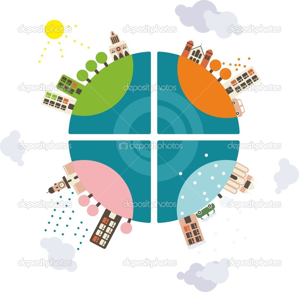 Globe in four seasons — Stock Vector #8636239