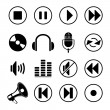 Audio music icons — Stok Vektör #9822617