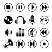 Audio muziek pictogrammen — Stockvector