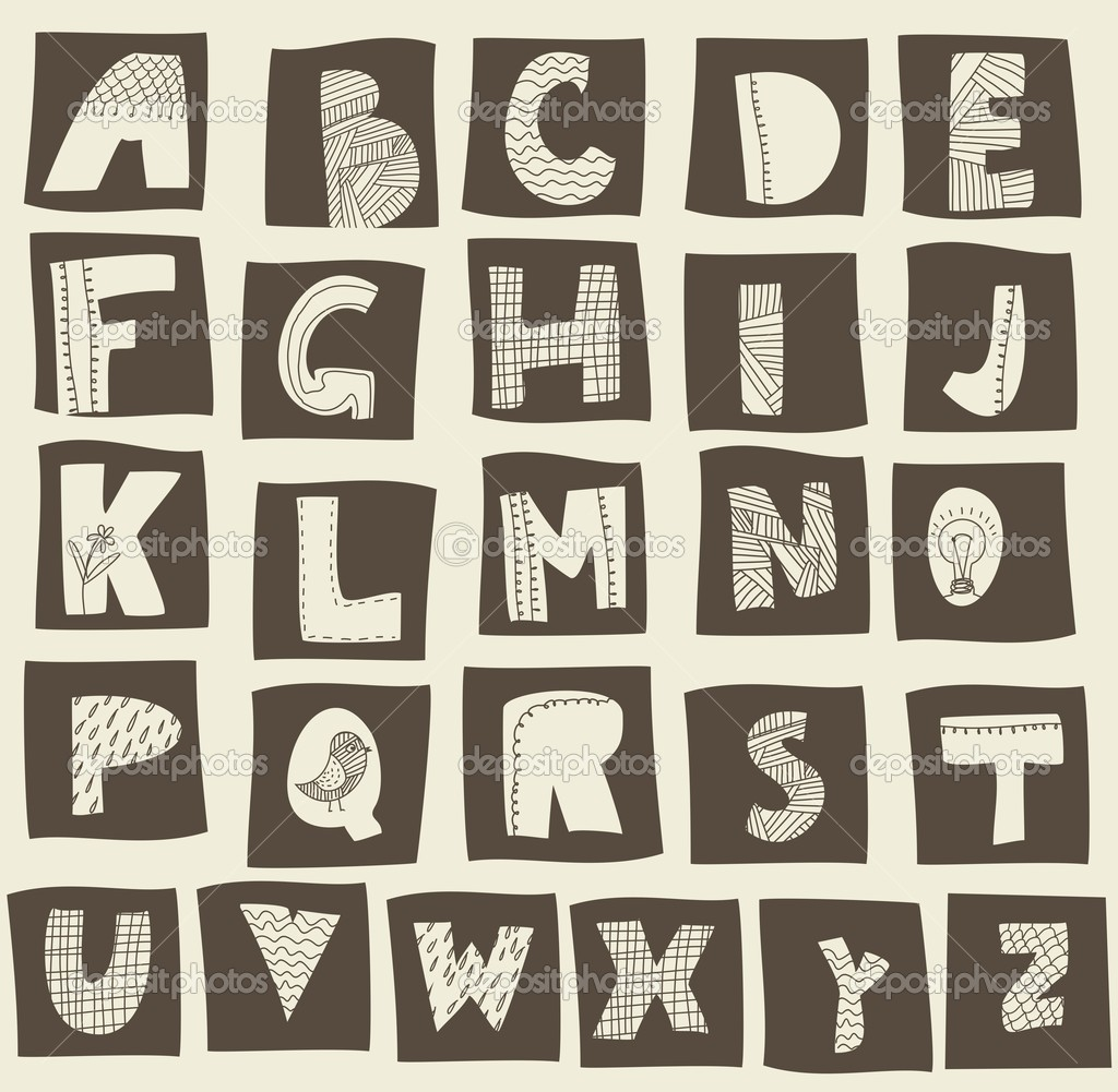 英语字母表 - 图库插图