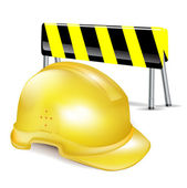 Hard construnction helmet/hat and attention sign barrier — Stockvector