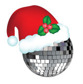 Disco ball with christmas hat — Stock Vector