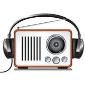 Auriculares y reproductor de radio retro — Vector de stock