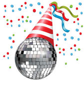 Disco ball with party hat — Stock Vector