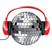 Disco ball with red music headphones — Stock Vector