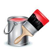 Wiadro z farbą z czerwonej farby i pędzel — Wektor stockowy