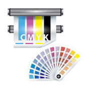 Color print items; color chooser and printer — Stock Vector