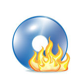 Burning cd icon on white — Stock Vector