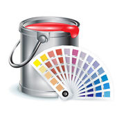 Paint bucket with color chooser — Stock Vector