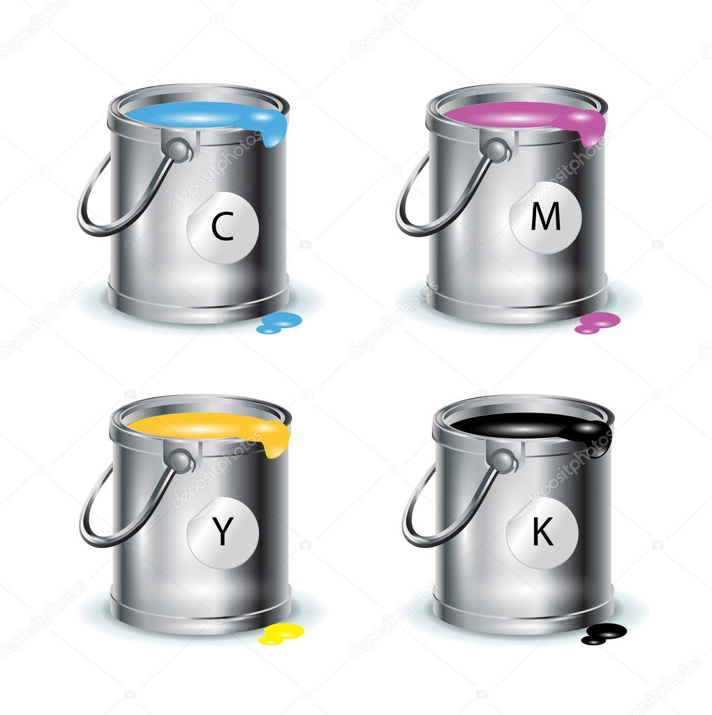 Color print; individual buckets with paint on white — Stock Vector #8068635