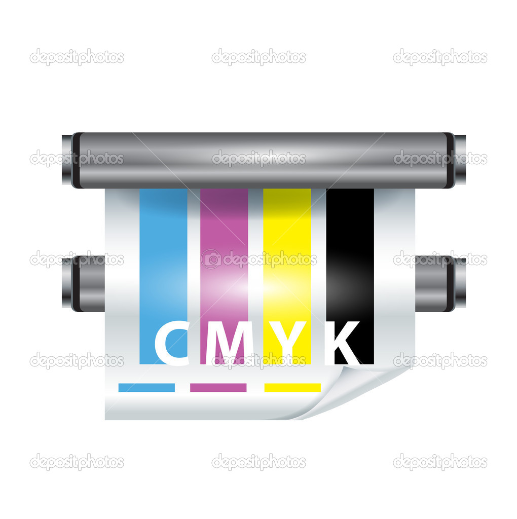 Color printer icon on white background — Stock Vector #8068638