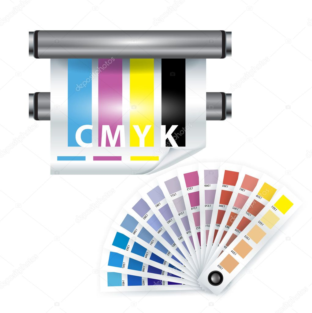 Color print items; color chooser and printer on white — Stock Vector #8068639