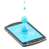 Liquid drop on the smartphone surface — Stock Photo