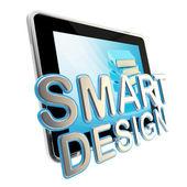 スマートなデザインの紋章としてフラット パッド画面 — ストック写真
