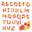 Stock Photo: Alphabet set made of toy blocks isolated