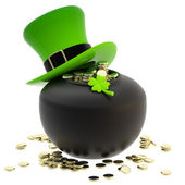 St. Patrick: pot of coins and hat — Stock Photo