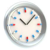 Tıbbi ilaçlarla numaraları olarak saat — Stok fotoğraf