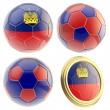 Stock Photo: Liechtenstein football team attributes isolated