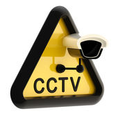 Closed circuit television CCTV alert sign — Stock Photo