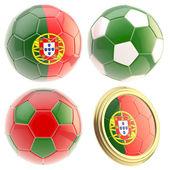 Portugalia piłka nożna zespołu atrybuty na białym tle — Zdjęcie stockowe
